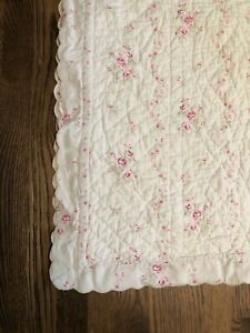 simply shabby chic lady rose green floral scalloped quilt TWIN