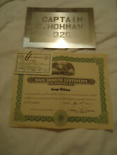 Baltimore County Police Dept MD 1942 safe driver award / nameplate George Hohman