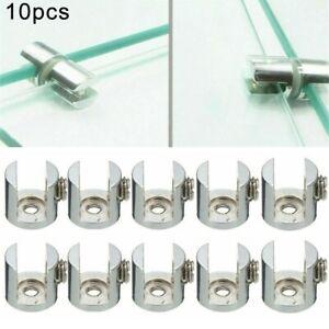 10*Glass Shelf Support Clamp Brackets-Clip Polished Chrome Shelves 6mm-12mm New
