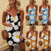 Women's Summer Holiday Tank Mini Dress Beach Casual Cami Loose Floral Sundress