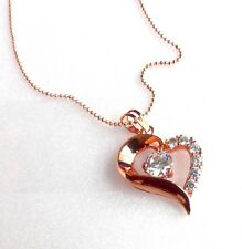 Heart Love Crystal Necklace Pendant Chain Women's Rose Gold Plated CZ Cubic UK