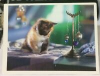 Postcard Animal Cat Kitten and Baubles - posted 1996