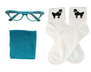 1950s 3 pc Child Accessory Set (Vintage Hair Scarf-Poodle Socks-Cat Eye Glasses)