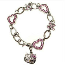 Hello Kitty - Cyrstal Bracelet with pink crystal hearts
