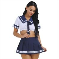 Sexy Women Lady Lingerie Crop Top School Girl Cosplay Costume Fancy Dress Outfit
