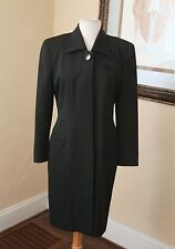 Vintage Nipon Boutique Black Wool Dress Jacket Trench Coat Size 6 Evening Office