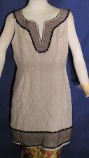 5f9cb060dc J.Crew 100% Linen Oatmeal Tan Sheath Dress sz 10 Black Crochet Trim w
