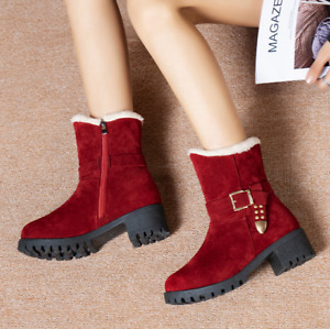 Womens Casual Round Toe Block Heels Winter Warm Snow Ankle Boots Buckle Shoes