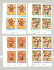 Maldives #420-425 Flowers, Renoir, Art 6v Imperf Cylinder Blocks of 4