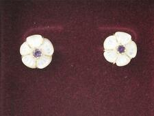 BEAUTIFUL ZALES FLOWER EARRINGS W/ 14K GOLD, MOTHER OF PEARL & AMETHYST STONE