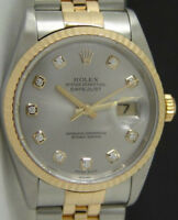 ROLEX - Mens 36mm 18kt Gold & SS DateJust Silver DIAMOND Dial - 16233 SANT BLANC