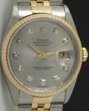 ROLEX - Mens 36mm 18kt Gold & SS DateJust Silver DIAMOND Dial - 16233 SANT BLANC