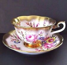 Royal Albert Treasure Chest Series,Floral Bouquet Footed Teacup,Saucer Set Mint