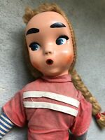 Rare Vintage Cloth Doll Long Striped Legs Red Style Early Collector Retro