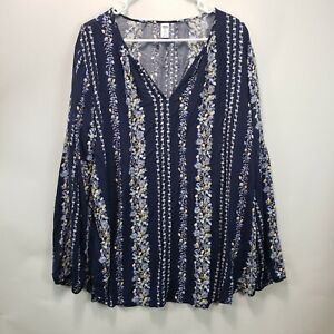 Old Navy Women's Size XXL Tall Navy Blue Floral Strips Long Sleeve Blouse