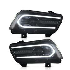 Set Projector Headlights For Dodge Charger 2011-2014 Black Dual Beam Headlight
