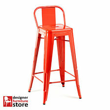 Replica Xavier Pauchard Tolix Metal Bar Stool Chair With Low Back - Red (76cm)