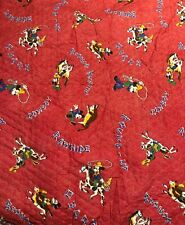 Vintage Cowboy Rodeo Mickey Mouse Red Quilted Fabric Walt Disney Productions BTY