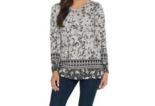 A343064 Susan Graver Weekend Printed Cotton Modal Tunic GREY Top L-711