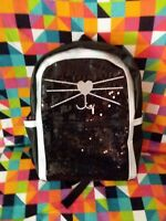 ARIZONA JEAN CO BACK PACK TOTE PURSE BLACK SILVER SEQUIN KITTY FACE/EARS