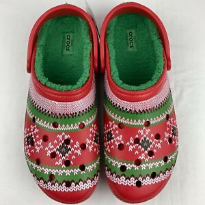 Crocs Fair Isle Print Lined Clogs Red Green Sweater Print Shoes Men's 13