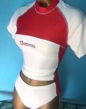 Traspaso Damas Sexy Rojo y Blanco Tankini conjunto de cuello alto talla 10-12 Nuevo