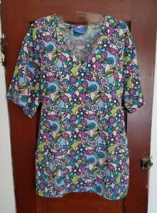 CAROL'S SCRUBS Women's M Blue Pink Floral Cotton Poly Short Sleeve Scrub Top