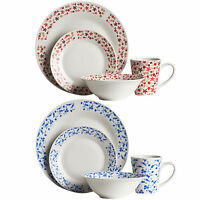 16 32 Piece Dinner Tableware Red Daisy Blue Rose Dining Crockery Service Set