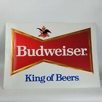 Budweiser Beer Metal Sign King of Beers Large Vintage 1992 Anheuser Busch 25x35