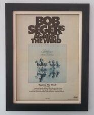 BOB SEGER*Against The Wind*1980*RARE*ORIGINAL*POSTER*AD*FRAMED*FAST WORLD SHIP*