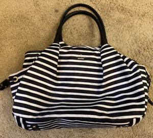 Kate Spade Black/White Stripe Nylon Top Zip Diaper Shoulder Bag