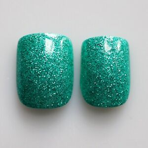 24pcs Glitter Nails, High Quality False Nail Tips in BULK ONLY -- Teal Green