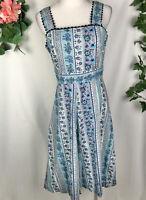 Vintage JACQUELINE EVE Blue Patterned Fit & Flare A-Line Sun Midi Dress - 10-12