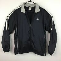 Adidas Windbreaker Light Black White 3 Stripe Full Zip Jacket Men's Size M