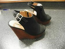Soda Women Wedge Shoes Open Toe Black Platform Size 7.5  __________________ R1A