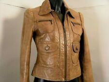 "OASIS Amazing Jacket 100% Total Real Leather ""Plongèe"" Lamb Hazelnut Color uk10"