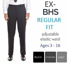 Ex-BHS Boys Charcoal Black Grey Regular Fit School Trousers Age 3-16 Adjustable