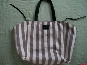 """""""VICTORIA'S SECRET"""" TOTE BAG-GRAY/WHITE STRIPES-12 1/2"""" X 17"""" VERY GENTLY USED!"""