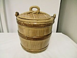 Vintage American Bisque or  McCoy USA oaken Bucket Barrel Cookie Jar -Wire Handl