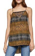 NWT Womens BCBGeneration Tunic Cami Tank Top Shirt Leopard Plaid Black Lace XS