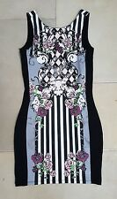 RIVER ISLAND PARTY DRESS. Black. Satin Style. Floral Pattern. Size 8. RRP £45.