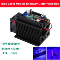 Focusable Powerful 15W 450nm 15000mW Blue Laser Module TTL 12V Fan CNC + Goggles