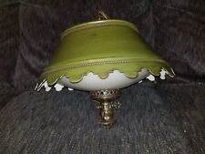 Vintage Mid Century Green Swag Lamp - Hanging Light Fixture - 1960's