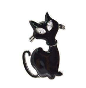 Cat Brooch Pin Badge Enamel Gift Black Silver Lover Jewellery Kitten Ladies UK