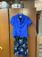 Studio I Women's Two Pc Sz 10 Sleeveless Maxi Dress With Jacket Blue Floral
