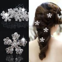 5 pcs Women Ladies Wedding Bridal Snow Flower Rhinestone Crystal Hair Pins Clips