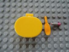 LEGO 1 x Scala Koffer 6203  oval gelb + Bürste + Lippenstift