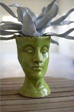 "Ceramic Head Planter Flower Pot Plant Green 11.5""H"