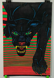 psychedelic pop art PANTHER DAYGLO VELVET BLACKLIGHT POSTER