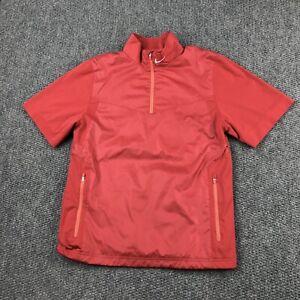 Nike Golf Men's Small Red Polyester Short Sleeve 1/2 Zip Golf Jacket Windbreaker